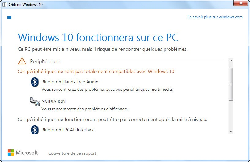 Compatibilité pilote Windows 10