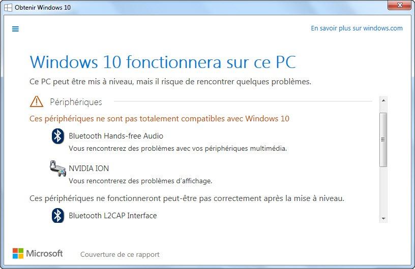 Compatibilité pilote Windows 10