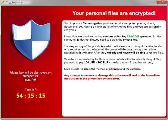 Virus cryptage de données